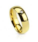 8 mm - Arany színű, tükörfényes, cirkónia kristályos nemesacél gyűrű ékszer