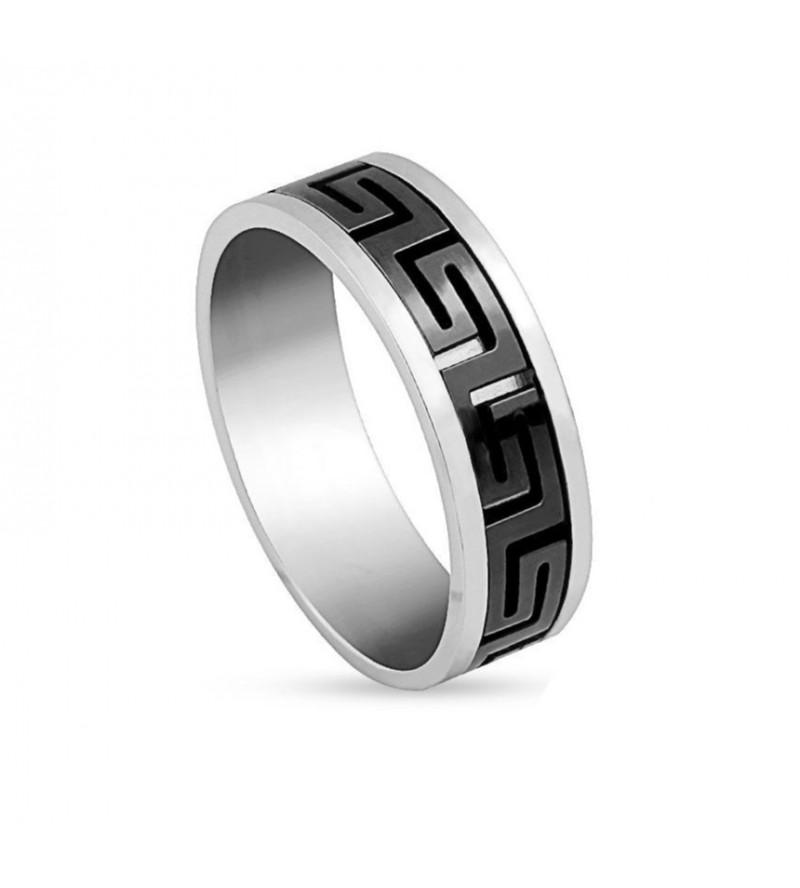 8 mm - Egyedi mintázatú, fekete és ezüst színű nemesacél gyűrű ékszer