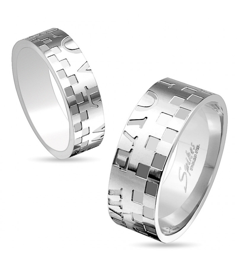 8 mm - Ezüst színű, mintás nemesacél gyűrű ékszer