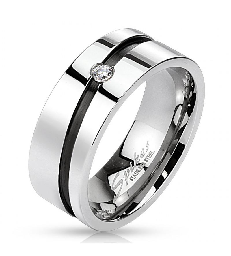 8 mm - Ezüst színű nemesacél gyűrű ékszer, cirkónia kristállyal