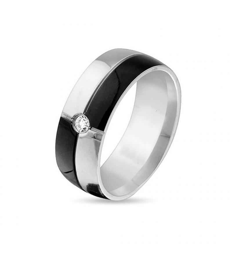 8 mm - Fekete és ezüst színű nemesacél gyűrű ékszer
