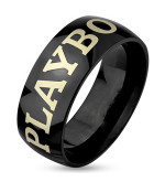 8 mm - Fekete színű, eredeti Playboy nemesacél gyűrű ékszer