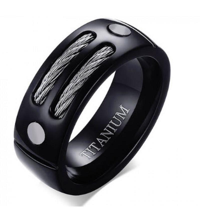 8 mm - Fekete színű gyűrű, kötél és csavar dísszel