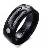 8 mm - Fekete színű gyűrű, kötél és csavar dísszel-9