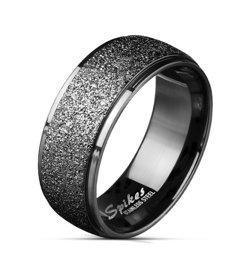 8 mm - Fekete színű, homokfújt nemesacél gyűrű