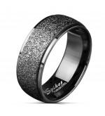 8 mm - Fekete színű, homokfújt nemesacél gyűrű-12
