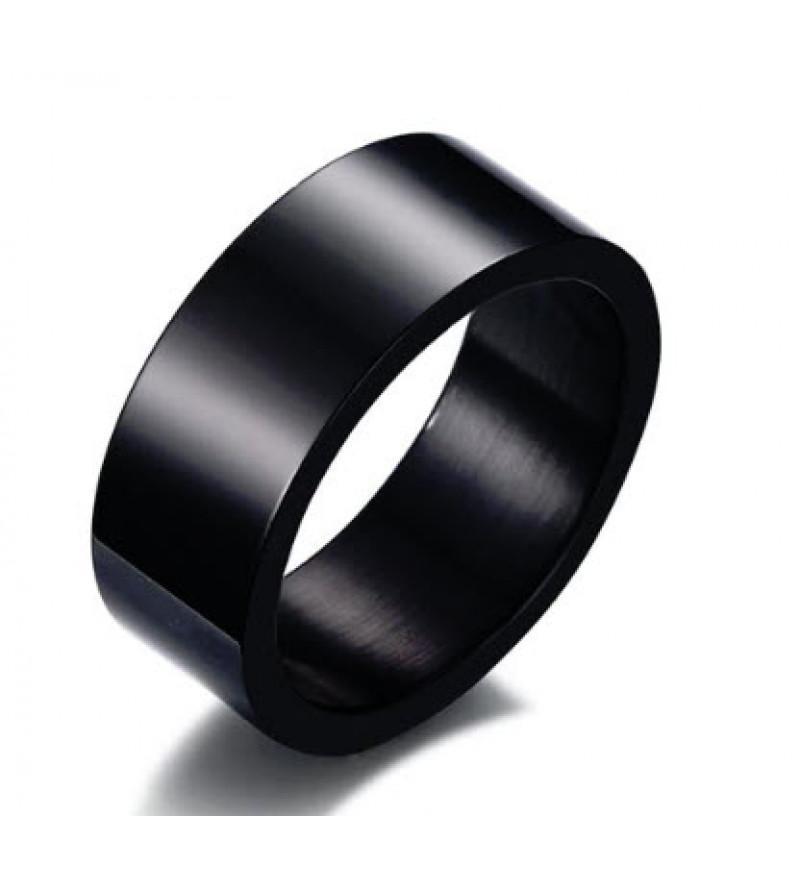 8 mm - Fekete színű, tükörfényes nemesacél gyűrű-12