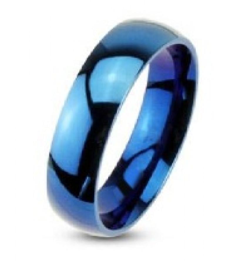 8 mm - Kék színű, tükörfényes nemesacél gyűrű