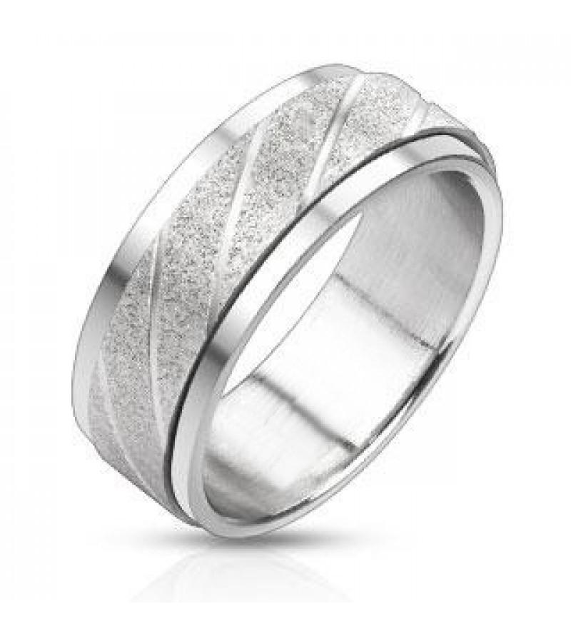 8 mm - Két tónusú, ezüst színű, középen forgó nemesacél gyűrű ékszer