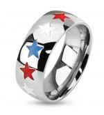 8 mm - Piros, kék és fehér csillagos nemesacél gyűrű ékszer
