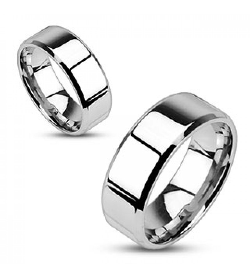 8 mm - Tükör fényes, ezüst színű nemesacél gyűrű ékszer