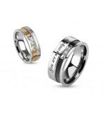 8 mm -Igaz szerelmem-  Fekete és ezüst színű nemesacél gyűrű ékszer