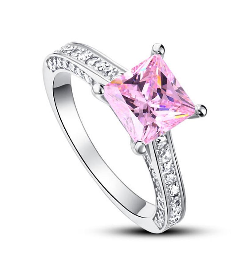 925 ezüst gyűrű négyzet alakú lila gyémánttal - 6