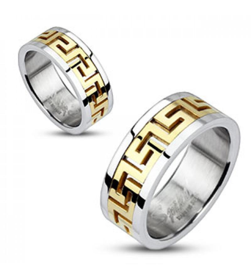 9 mm - Arany és ezüst színű, görög mintás nemesacél gyűrű ékszer