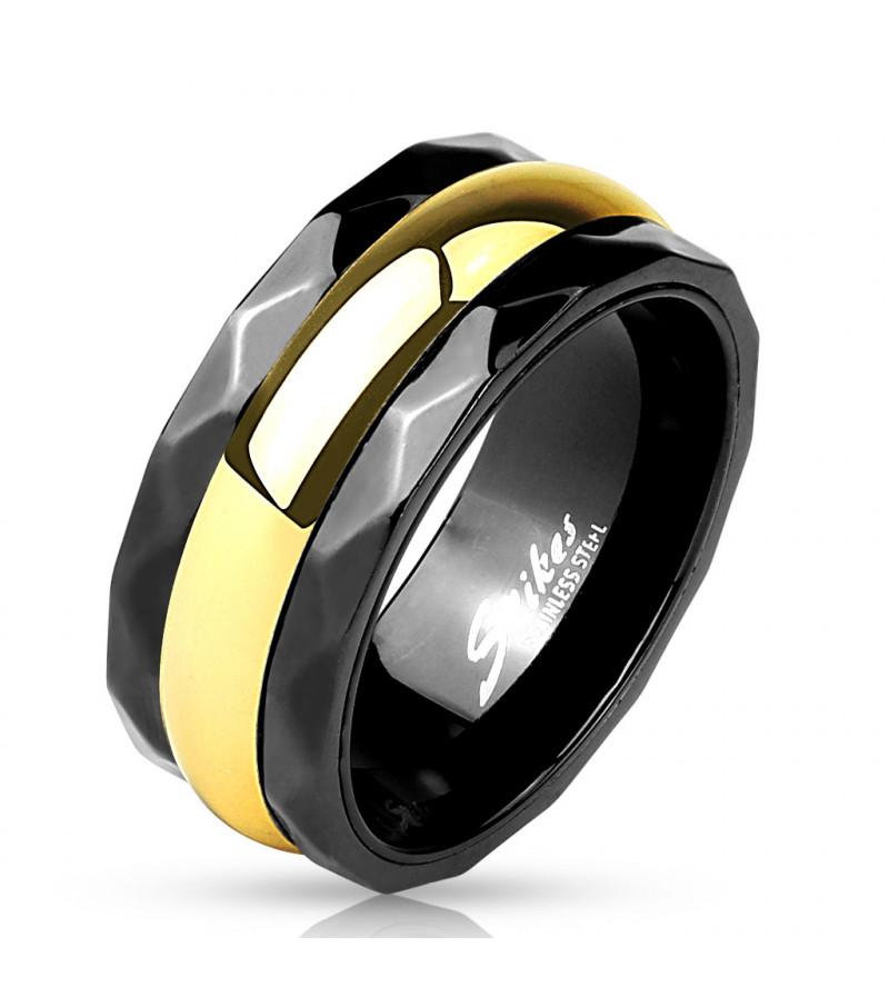 9 mm - Fekete és arany színű nemesacél karikagyűrű-11