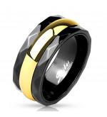 9 mm - Fekete és arany színű nemesacél karikagyűrű-12