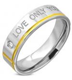 - Szeretlek - feliratú, arany és ezüst színű nemesacél gyűrű ékszer
