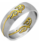 Albion - Ezüst színű nemesacél karikagyűrű aranyszínű kelta motívummal