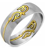 Albion - Ezüst színű nemesacél karikagyűrű aranyszínű kelta motívummal-11