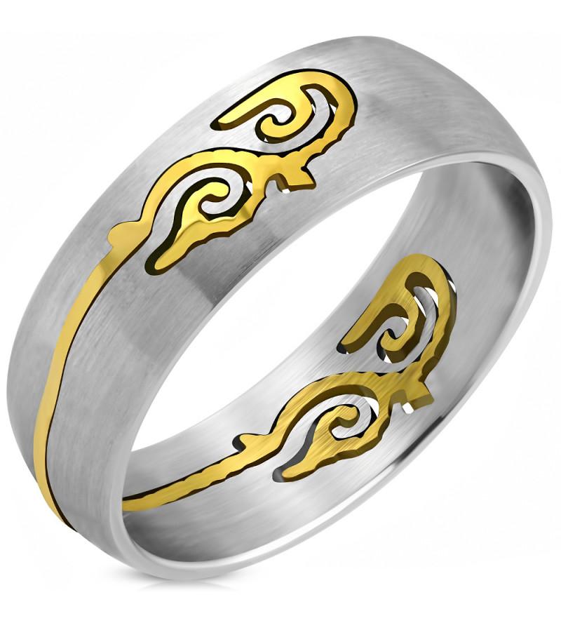Albion - Ezüst színű nemesacél karikagyűrű aranyszínű kelta motívummal-8