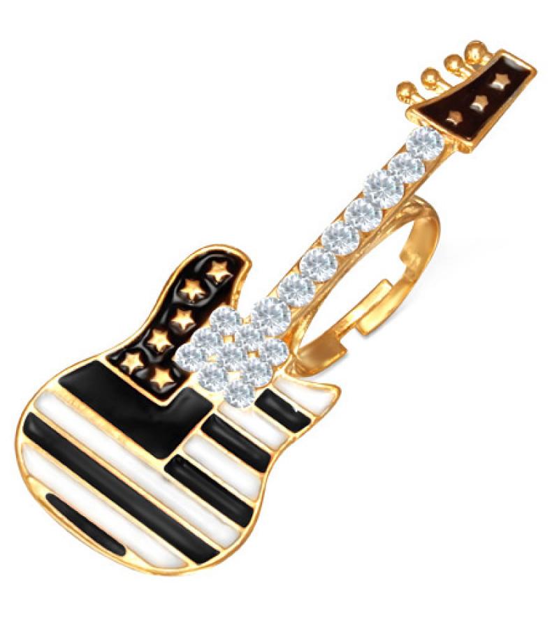 Állítható, gitár alakú köves gyűrű ékszer