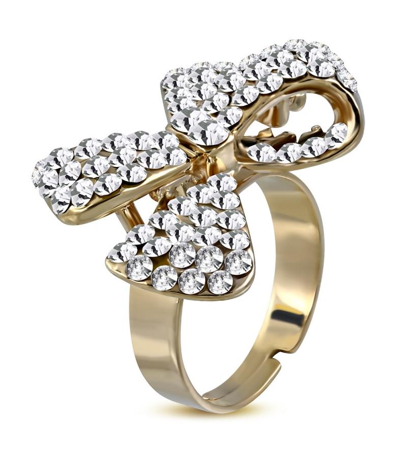 Állítható, masni alakú koktél gyűrű cirkónia kristállyal