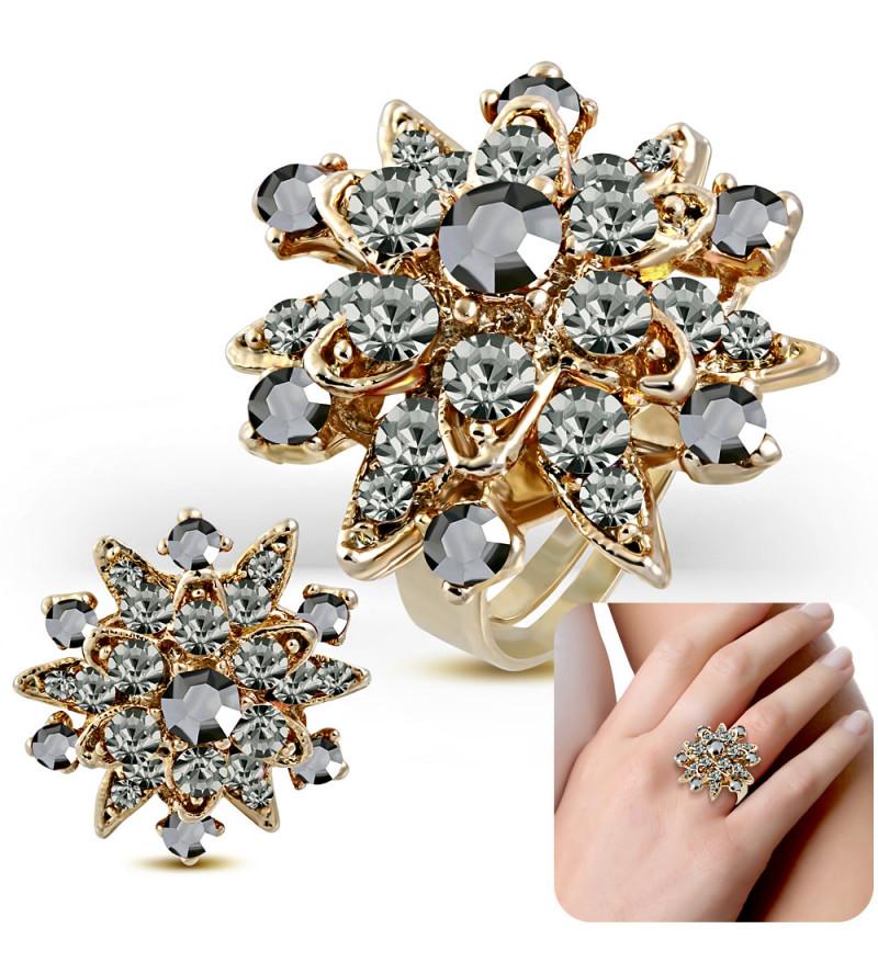 Állítható méretű, cirkónia kristályos gyűrű ékszer