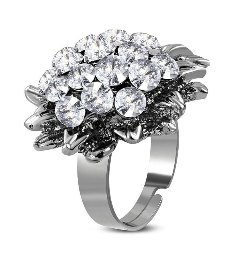 Állítható, virág alakú koktél gyűrű cirkónia kristállyal