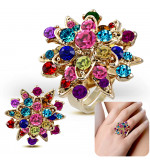 Állítható, virág alakú koktél gyűrű, színes cirkónia kristállyal