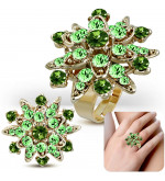 Állítható, virág alakú koktél gyűrű, világos zöld cirkónia kristállyal