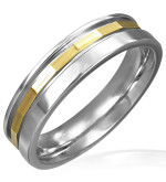 Arany és ezüst színű, barázdált nemesacél gyűrű ékszer