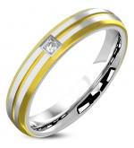 Arany és ezüst színű cirkónia kristályos nemesacél gyűrű ékszer