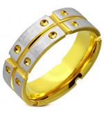 Arany és ezüst színű, hornyozott nemesacél gyűrű ékszer