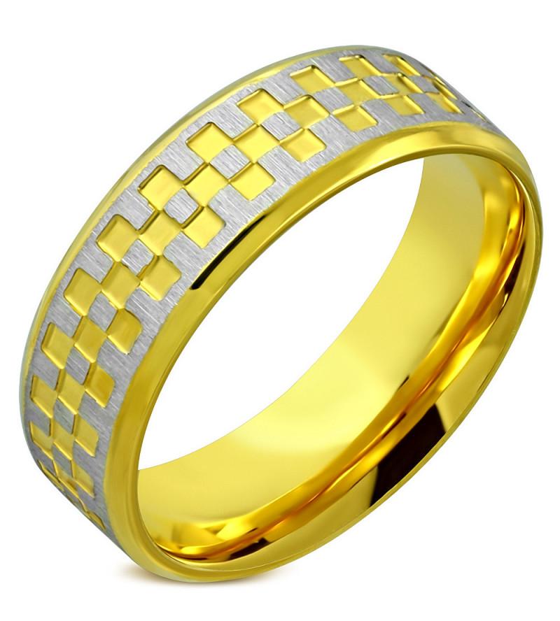Arany és ezüst színű, kocka mintás nemesacél gyűrű ékszer