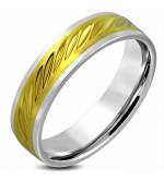 Arany ezüst színű, átlósan mintás nemesacél gyűrű ékszer