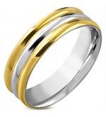 Arany ezüst színű, bordázott  nemesacél gyűrű ékszer