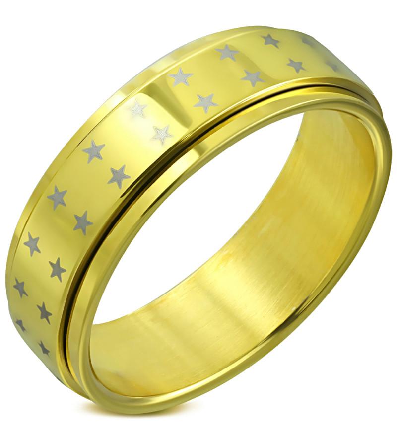 Arany színű csillag mintás, középen forgó nemesacél gyűrű-11