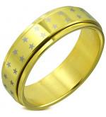 Arany színű csillag mintás, középen forgó nemesacél gyűrű-12