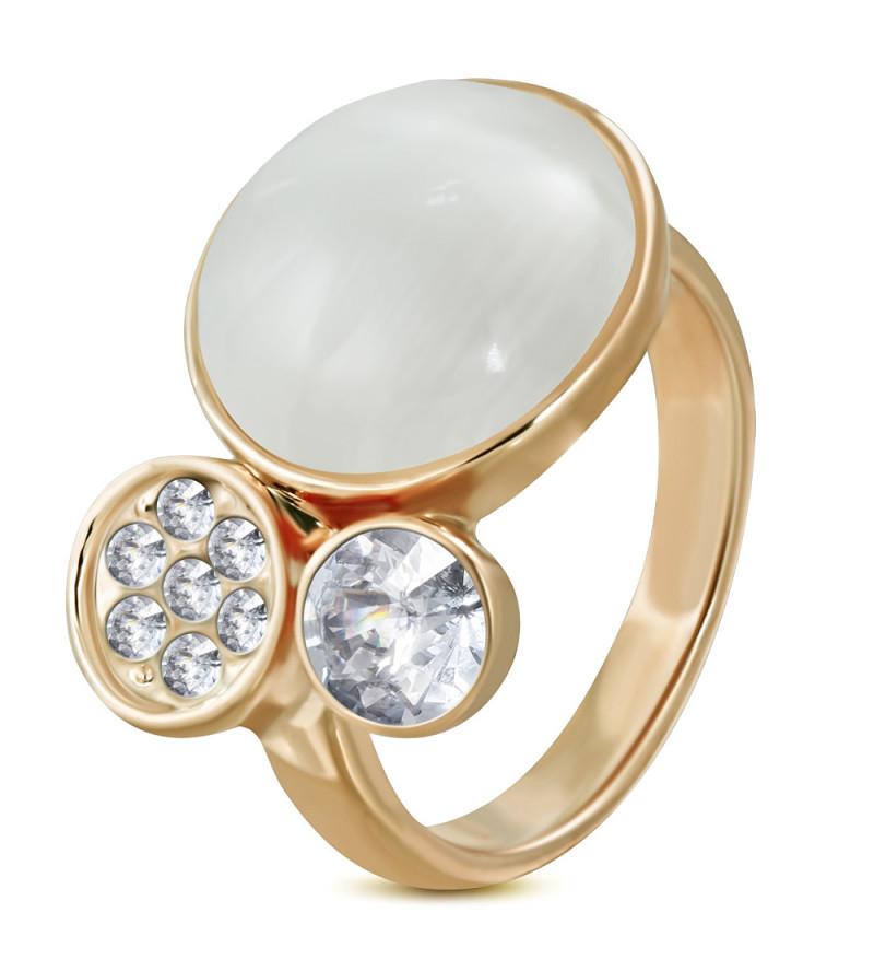 Arany színű divat gyűrű cirkónia kristályokkal és macskaszem kővel