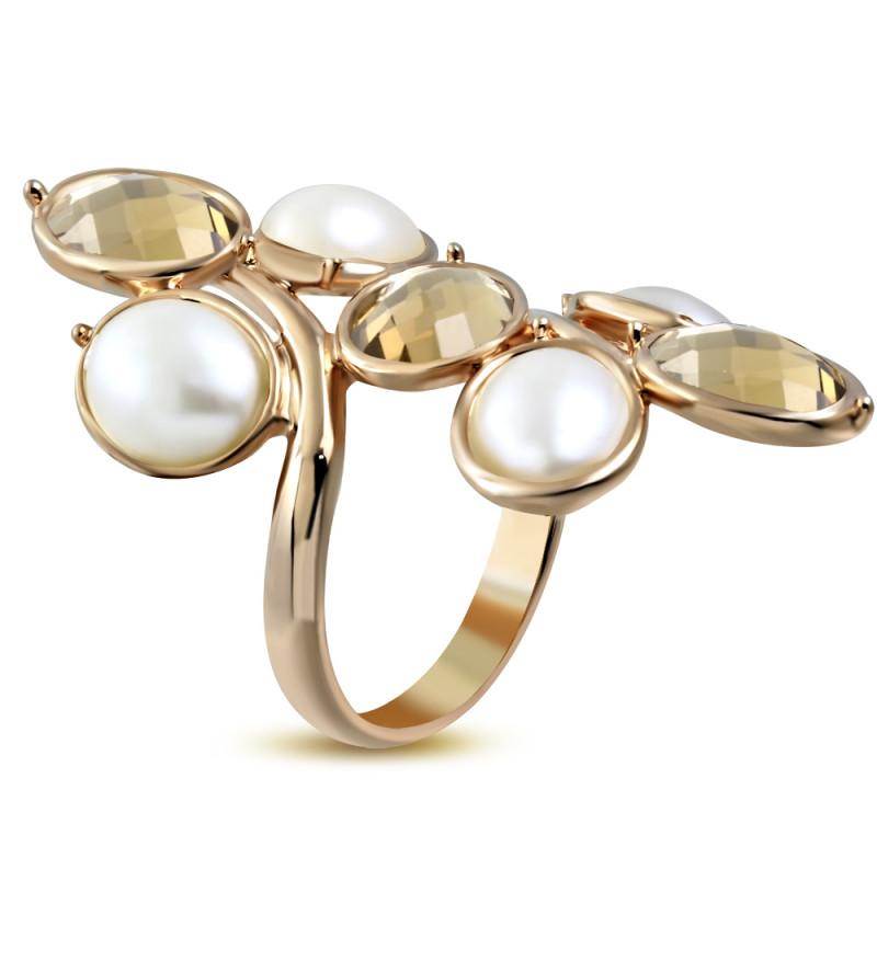 Arany színű, fürt alakú koktél gyűrű, cirkónia kristállyal-5