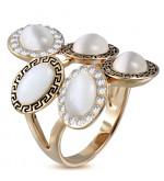 Arany színű, görög mintás koktél gyűrű, cirkónia kristállyal