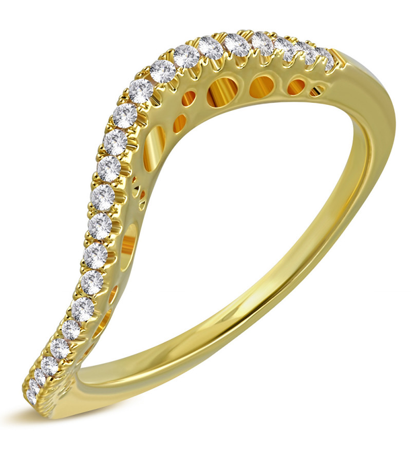Arany színű, hullám alakú gyűrű, cirkónia kristállyal-8,5