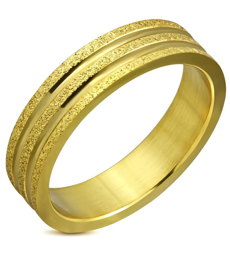 Arany színű, két tónusú nemesacél gyűrű-12