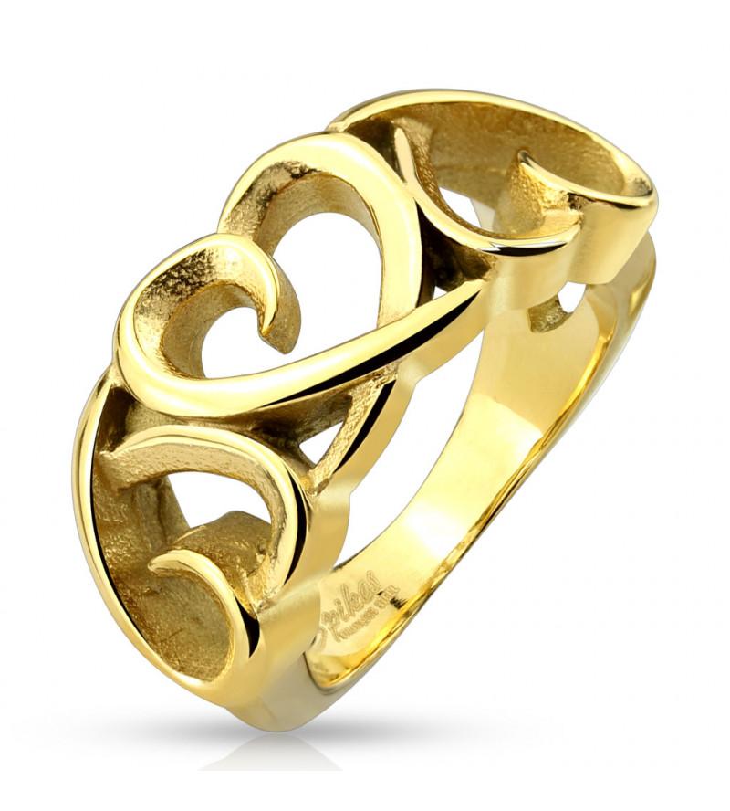 Arany színű, kivágott szív formájú nemesacél gyűrű-5