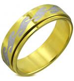 Arany színű, középen forgó nemesacél gyűrű ékszer