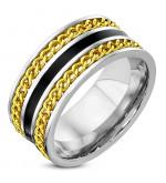 Arany színű lánccal futtatott, ezüst színű nemesacél gyűrű ékszer