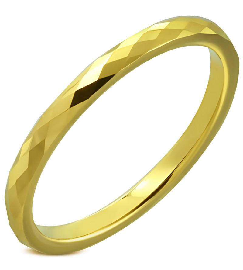 Arany színű, mintás nemesacél karikagyűrű-4