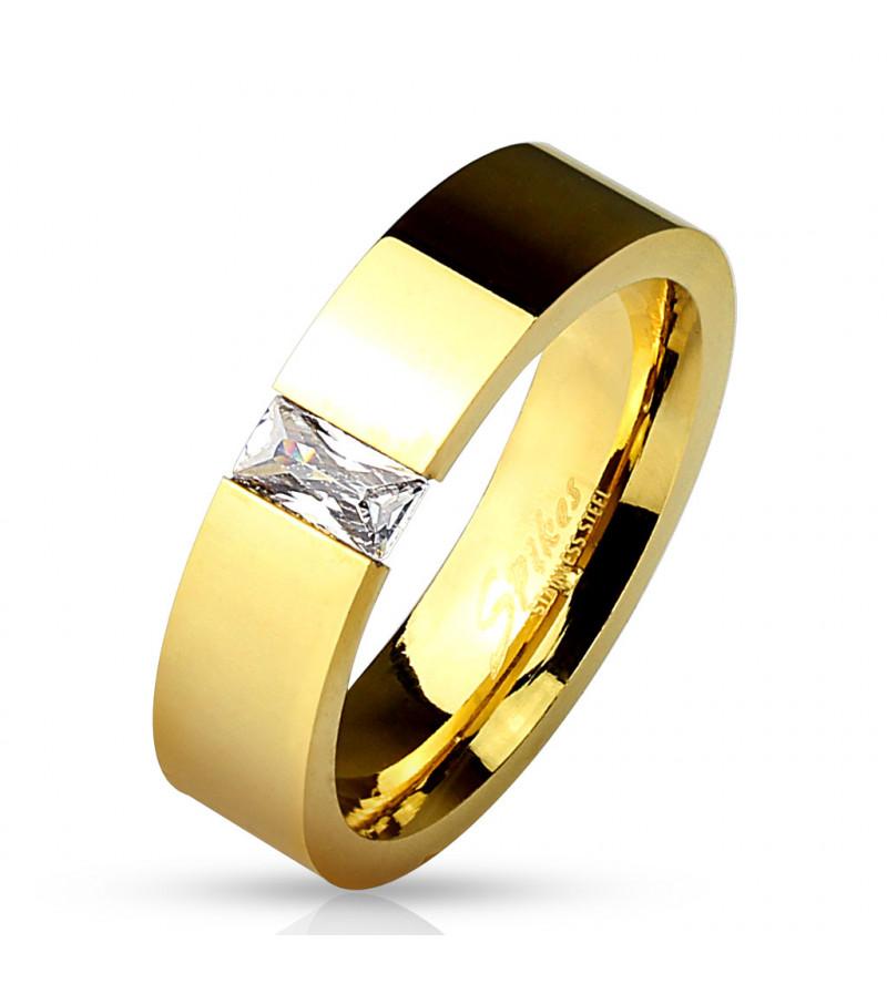 Arany színű modern nemesacél gyűrű cirkónia kővel-10
