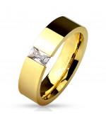 Arany színű modern nemesacél gyűrű cirkónia kővel-11