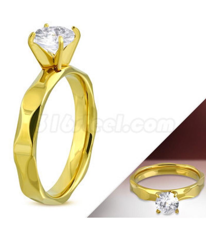 Arany színű nemesacél eljegyzési gyűrű cirkónia kővel-10